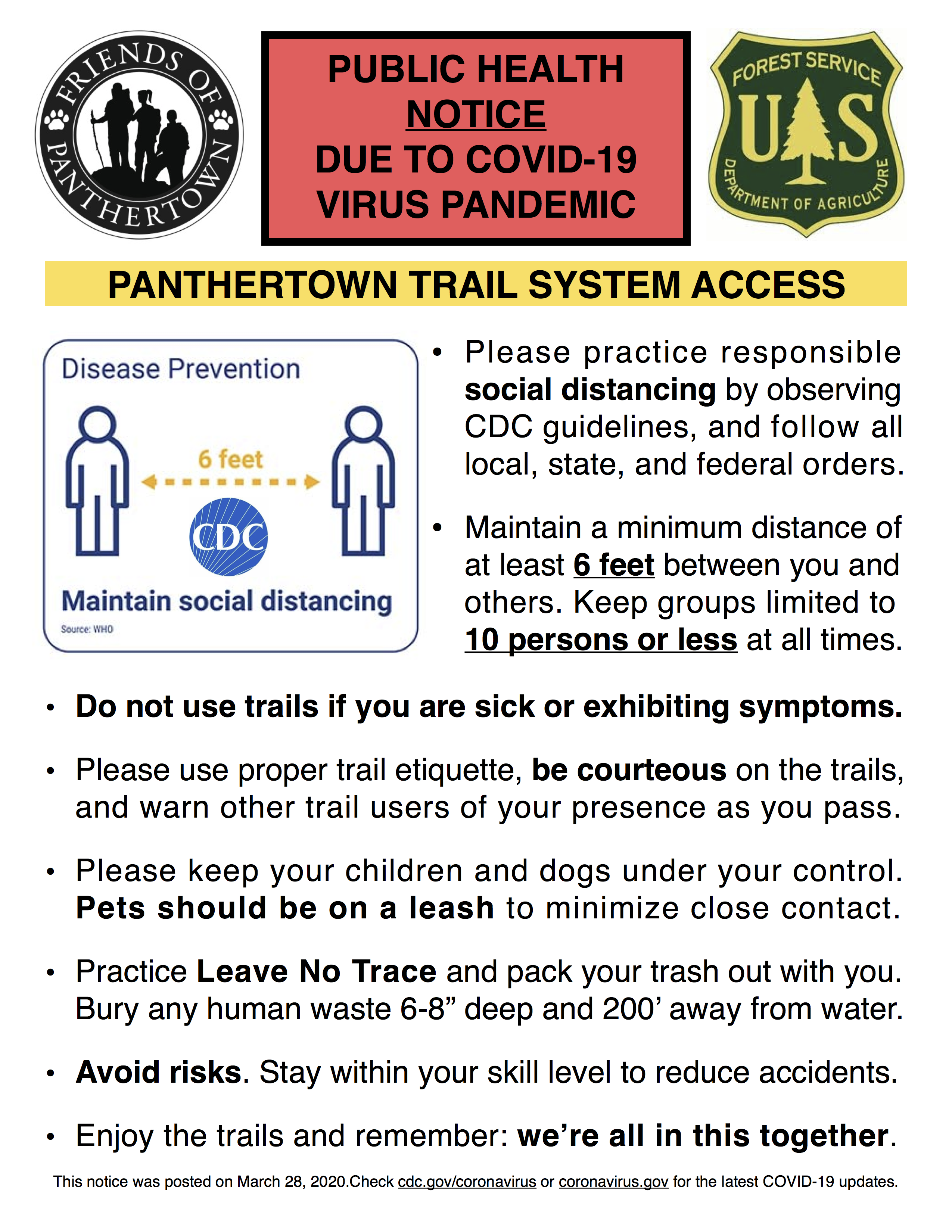 COVID-19 Notice for Panthertown